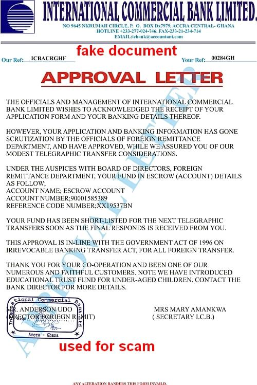 approval letter int. commercial bank ltd