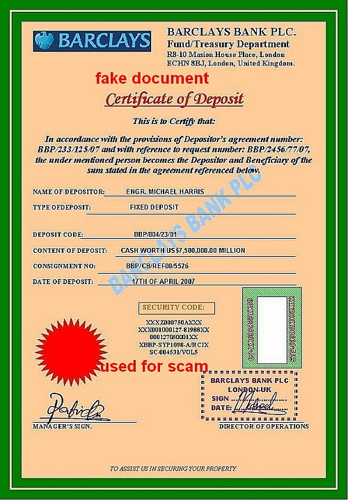 CERTIFICATE OF DEPOSIT Barclays Bank