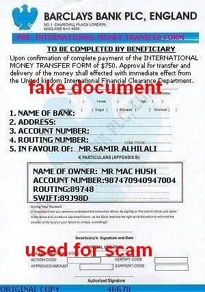 Barclays int. money transfer form