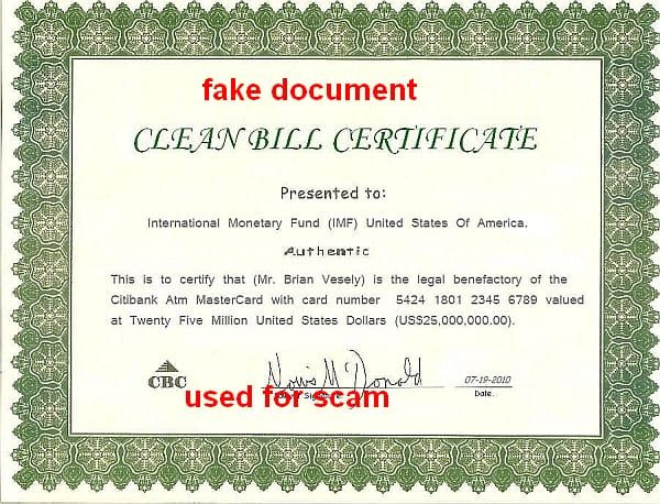 Clean Bill Certificate