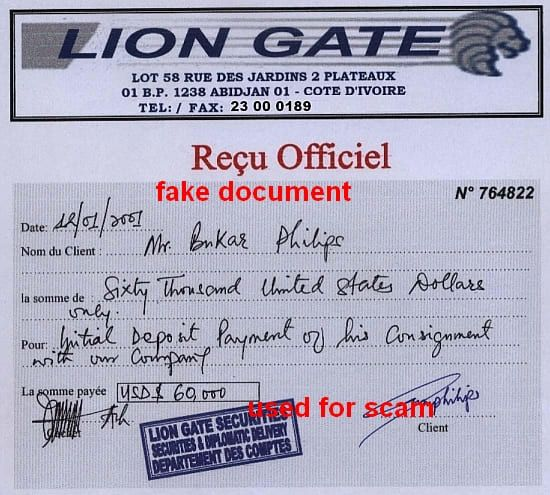 recu officiel Lion Gate Cote dÍvorie