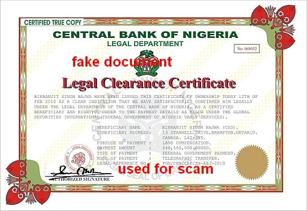 CBN LEGAL CLEARANCE CERTIFICATE