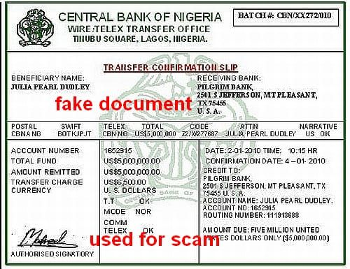 CBN TRANSFER CONFIRMATION SLIP