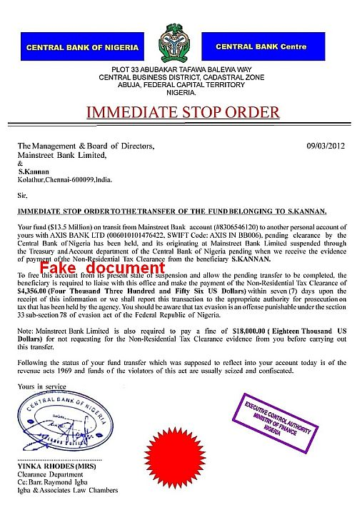 CBN Immediate stop order