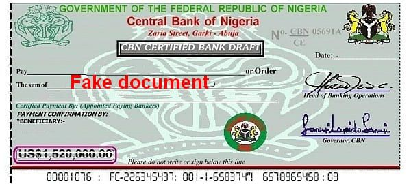 1,52 Mio USD Central Bank Nigeria