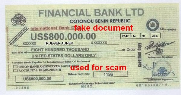 Financial Bank Benin 800 TSD $ an B.Trueger/G.Auner