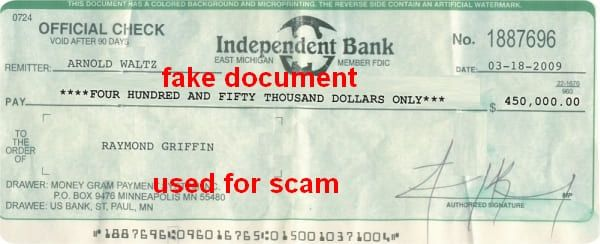Independant Bank 450.000$ Raymond Griffin