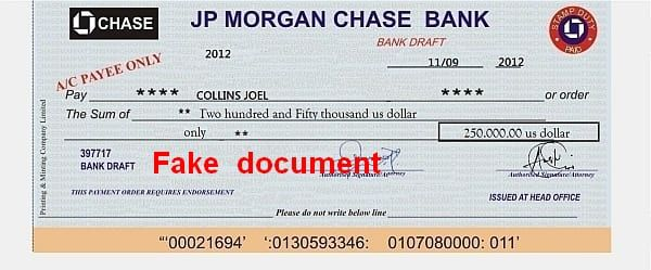 JP Chase Morgan Bank 250.000$ Collins Joel