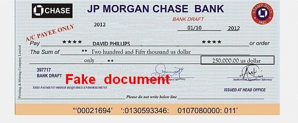 JP Chase Morgan Bank 250.000$ David Phillips