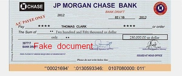 JP Chase Morgan Bank 250.000$ Thomas Clark