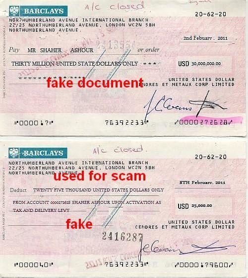 Sammlung falscher Dokumente von Banken oder Sicherheitsfirmen