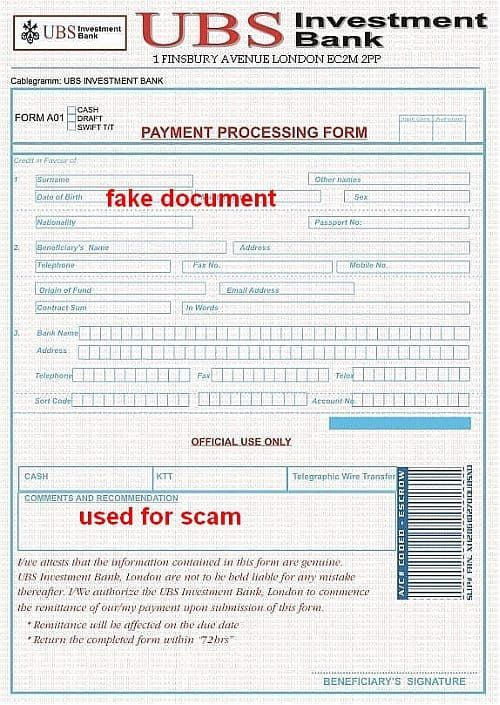 UBS Investment Bank Payment processing form