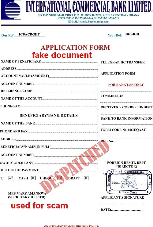leere application form int.commercial bank ltd