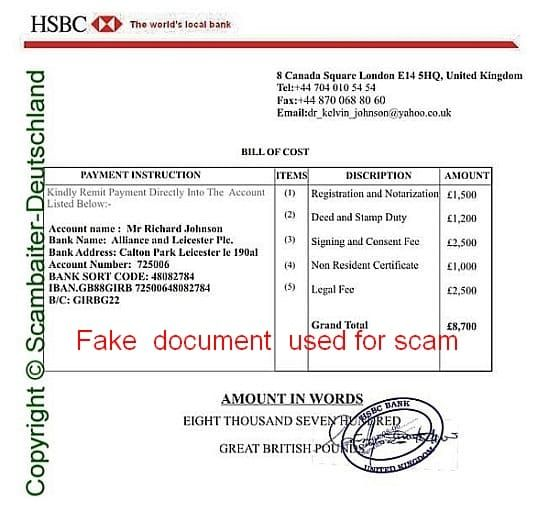 HSBC Bill of cost