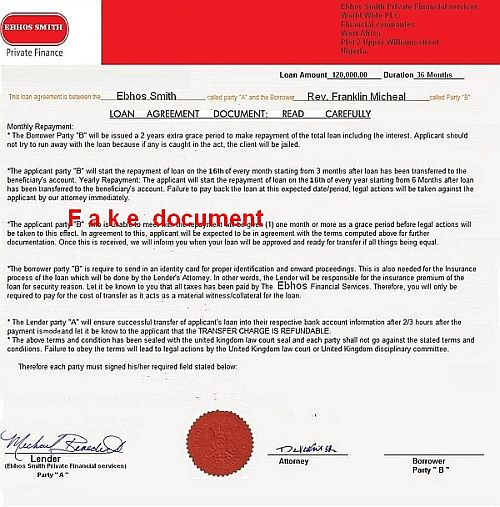 loan agreement document