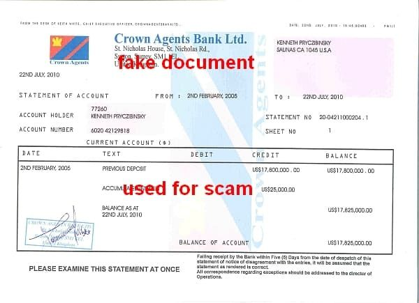 Crown Agent Bank Statement of account