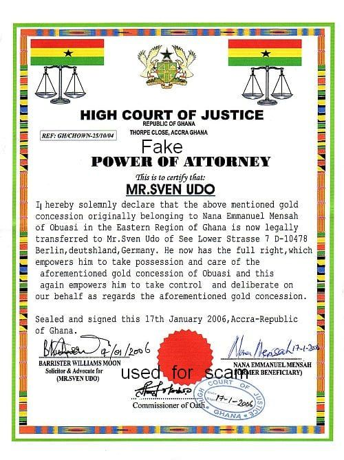 Power of Attorney vom Ghana High Court of Justice